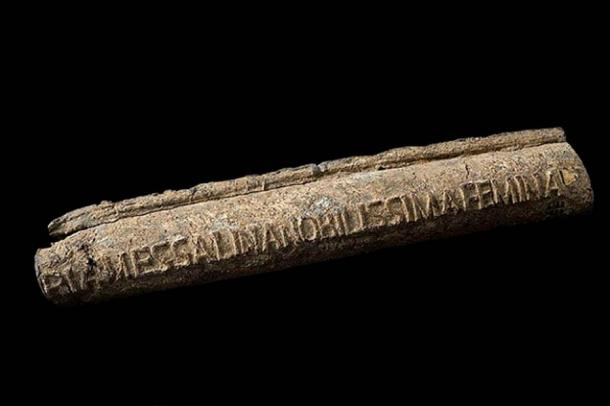 Lead water pipe, Roman, 20-47 CE with owner's name cast into the pipe. The most notable lady Valeria Messalina' (third wife of the Roman Emperor Claudius)
