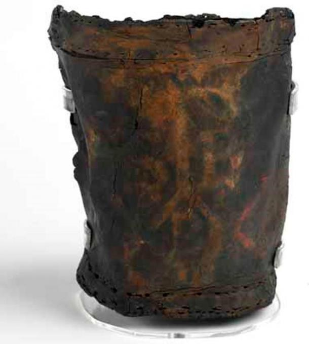Leather bucket c. 1666 excavated from a burnt house on Lower Thames Street. Museum of London