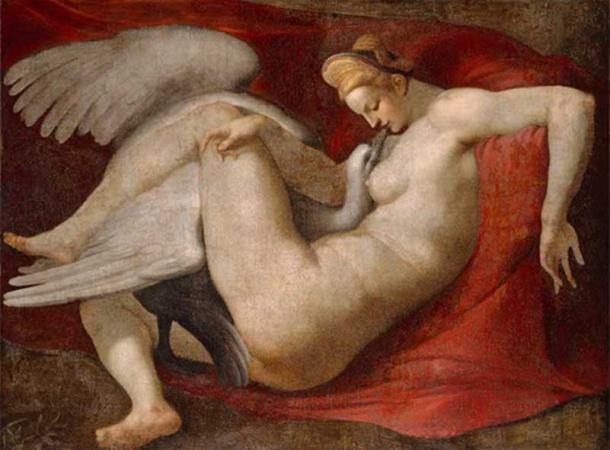 Leda and the Swan, a 16th-century copy after a lost painting by Michelangelo. National Gallery, London. (Public Domain)