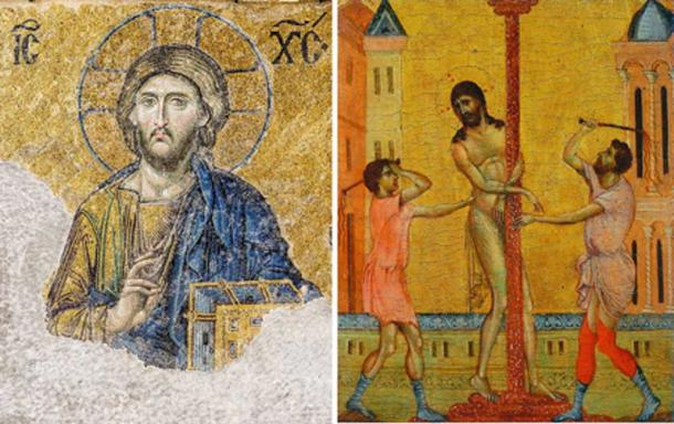 Left, Byzantine art - Christ Pantocrator of the Deesis mosaic (13th-century) in Hagia Sophia (Istanbul, Turkey). Right, Early Renaissance  The Flagellation of Christ, (part of the diptych by Cimabue circa 1280) (Public Domain)