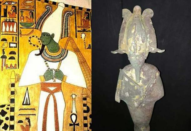 Left, frieze on a wall of tomb QV66, the burial place of Nefertari (c. 1295-1255 BC) featuring the Egyptian god Osiris. (Public Domain); Right, Bronze statuette of Osiris. (Ministry of Antiquities)