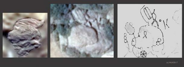 Left – Right: Figure 5(a), carved on Marambio Island, Antarctica, and 5(b), a monument on the Yala Beach front, Sri Lanka. Figure 5(c) is a drawing of 5(a). (Author provided)