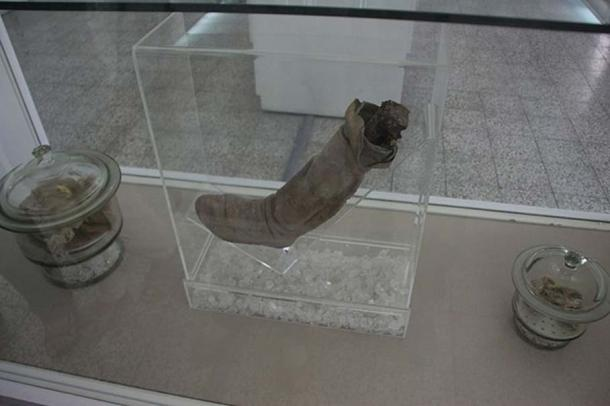 Left shoe and lower leg of Saltman 1 on display at Iran Bastan Museum.