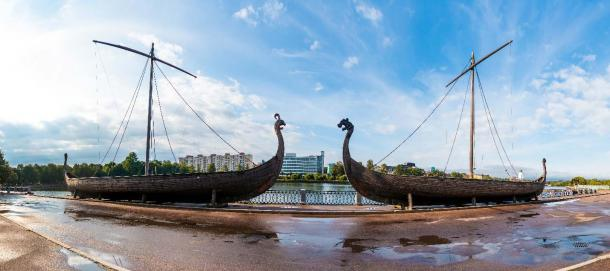 Modern-day legacy of the Rurik dynasty: Panoramic view of two Viking ships on an embankment in Vyborg, Russia.         Source: dr_verner / Adobe Stock Modern-day legacy of the Rurik dynasty: Panoramic view of two Viking ships on an embankment in Vyborg, Russia.         Source: dr_verner / Adobe Stock