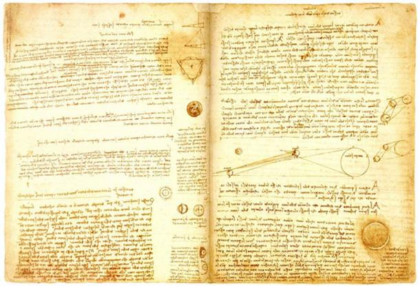 A page from Leonardo da Vinci's codex Leicester