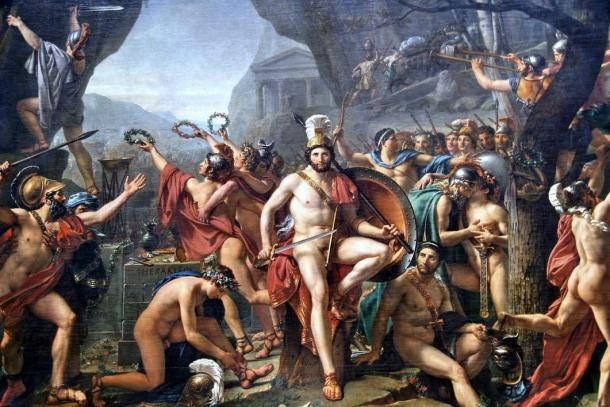 """""""Leonidas at Thermopylae"""" by Jacques Louis David. All 300 Spartans along with the Helot slave warriors fought to their deaths. Persia won the battle, but lost the war."""