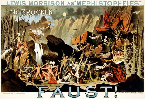"Lewis Morrison as ""Mephistopheles"" in Faust! – ""The Brocken"". Poster for a theatrical performance of Goethe's play showing Mephistopheles conjuring supernatural creatures on the German mountain, the Brocken (or Blocksberg), which according to the tale is the scenery for the Walpurgis night, from 30 April to 1 May. (Public Domain)"