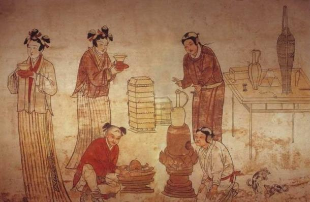 Liao Dynasty (907-1125) tomb mural by unknown painter in Inner Mongolia. Scene of everyday life for Khitan people. Men and boys have the distinctive Khitan hairstyle. (Public Domain)