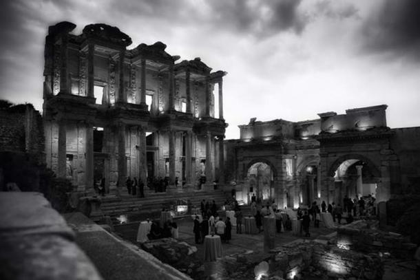 The Library of Celsus today, hosting an evening event