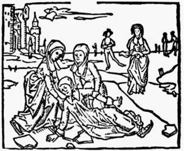 "498 woodcut entitled ""Lidwina's Fall on the Ice"" from Johannes Brugman's Vita of Saint Lidwina."
