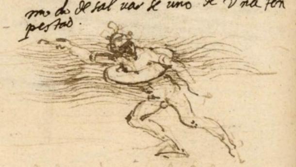 Lifebelt sketch by Leonardo da Vinci (circa 1488–90).