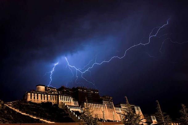 Lightening over the Potala Palace, Lhasa, Tibet
