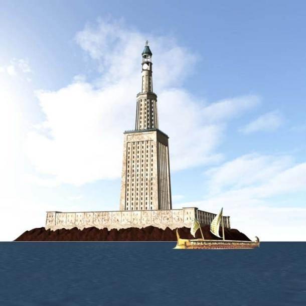 The Lighthouse of Alexandria on the island of Pharos.