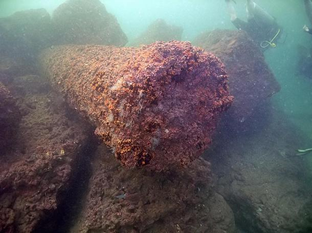 Lighthouse remains found in the Mediterranean Sea.