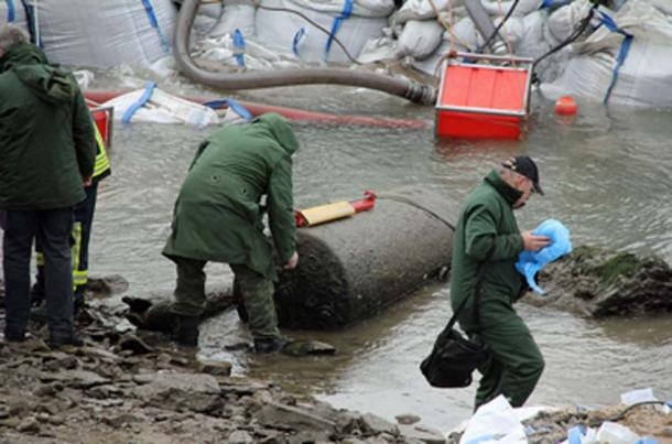 Like the Pompeii bombs, unexploded World War II bombs are everywhere. This one was found in the Rhine near Koblenz in 2011. (Schaengel / CC BY-SA 3.0)