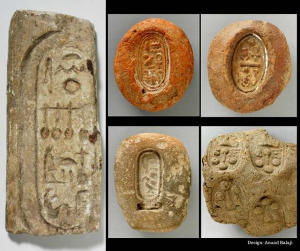 (Clockwise from Left) Limestone fragment with cartouche of Neferneferuaten Nefertiti (public domain); Terracotta mold seal with the birth name of Tutankhamun, dated to after the restoration of Amun worship (public domain); A terracotta mold with the throne name of Smenkhkare (public domain); Clay jar seal with Akhenaten's name stamped four times (public domain); and, Terracotta mold with the cartouche of Akhenaten. Los Angeles County Museum of Art (public domain).