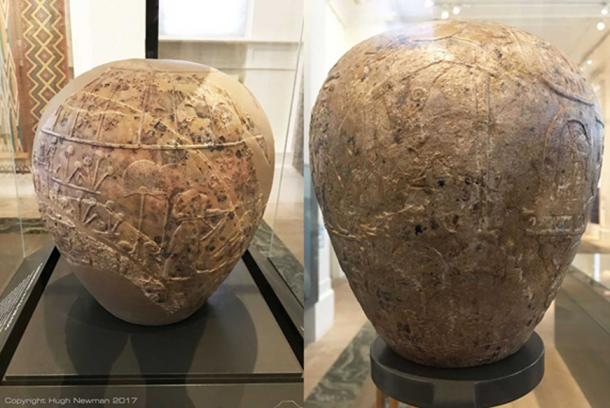 Limestone mace-heads that are oversized versions of the small stone weapons that were typical grave goods during the Predynastic period. They became symbols of the Egyptian elite by 3100 BC. Photos by Hugh Newman.