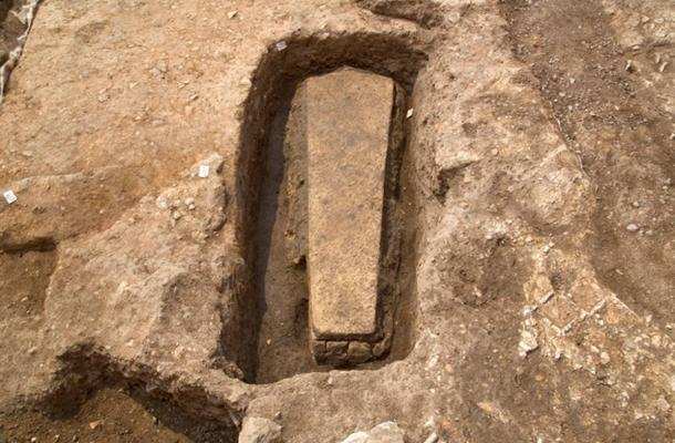 Limestone sarcophagus containing the lead coffin at medieval Grey Friars Church.