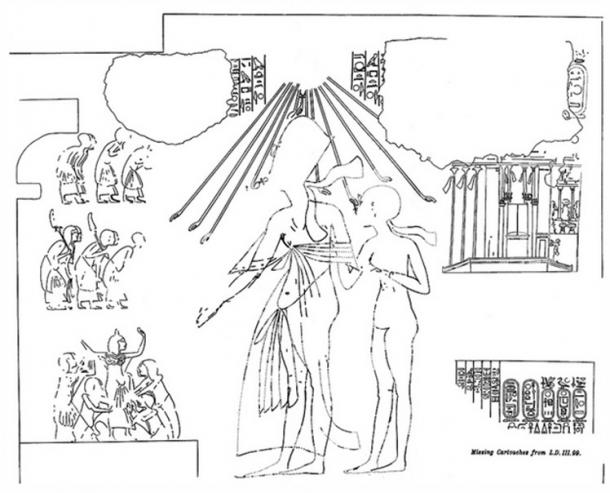 Line drawing of two figures from the tomb of Meryre II in Amarna. Lepsius' drawing of the now missing cartouches identify the figures as Ankhkheperure Smenkhare Djser Kheperu and his wife Meritaten.