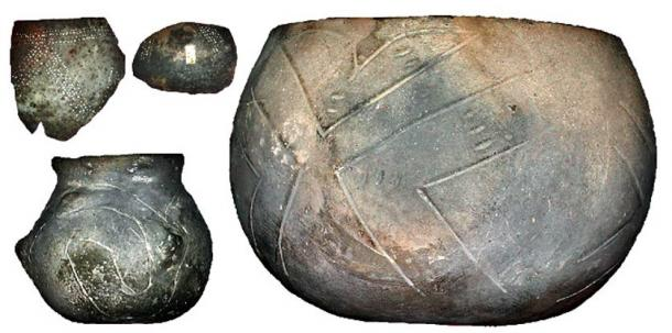 "Examples of Linear pottery: ""The vessels are oblated globes, cut off on the top and slightly flattened on the bottom, suggestive of a gourd."