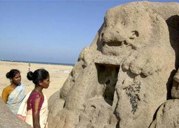 Lion statue that appeared after the December 26, 2004 tsunami on the beach of Mahabalipuram, India.