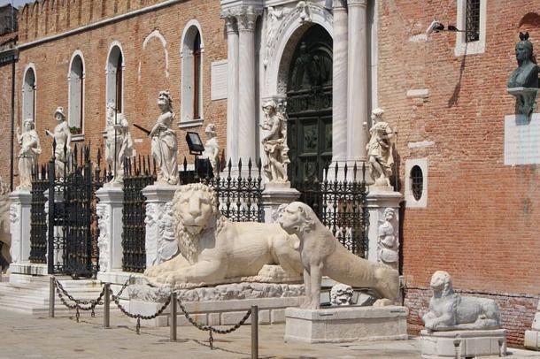 Lion statues outside the Venetian Arsenal.
