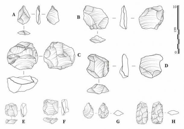 Lithics from Laminia (A-D) and Saxomununya (E-H). (A) unretouched flake; (B) bifacially retouched flake; (C) Levallois core evidencing a step fracture; (D) side retouched flake/scraper; (E, F) Levallois cores; (G) bifacial foliate point; (H) bifacial foliate. (Jacopo Cerasoni / Nature CC-BY-4.0)