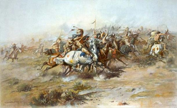 Lithograph showing the Battle of Little Bighorn, from the Indian side. (1903) by Charles Marion Russell. (Public Domain)