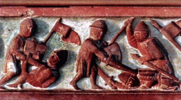 Lithuanians fighting with Teutonic Knights (bas-relief).