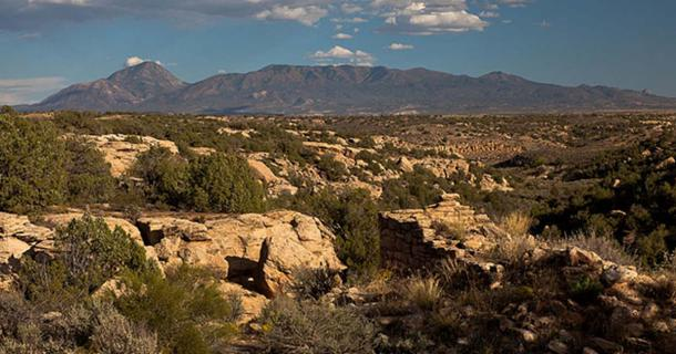 View down Little Ruins Canon with Sleeping Ute Mountain in the background