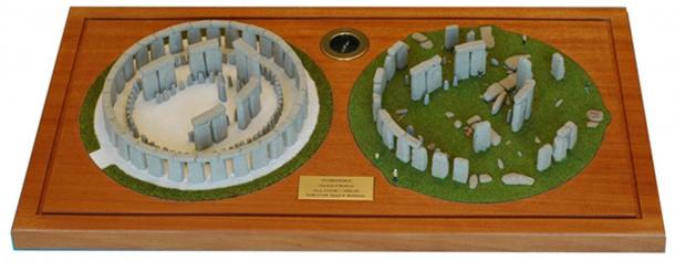 Lloyd Matthew's models showing Stonehenge as it stands today and as it would have originally looked.