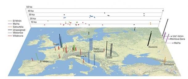 Location and age of the 51 ancient modern humans whose genes were studied.