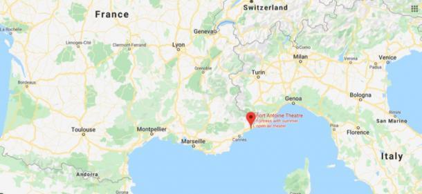 Location of Fort Antoine, Monaco (Google Maps)