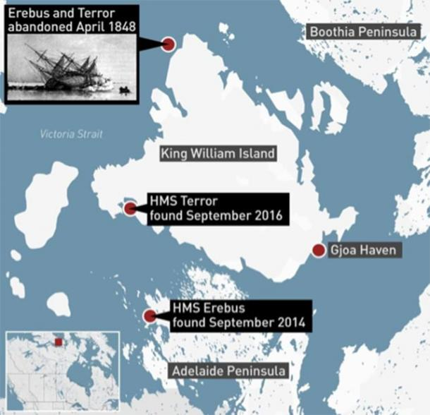 Location of the wrecks of HMS Erebus and HMS Terror. (CBC News/Parks Canada)