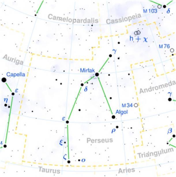 Location of Algol in the constellation Perseus.
