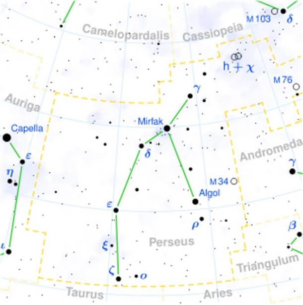 Location of Algol in the constellation Perseus.