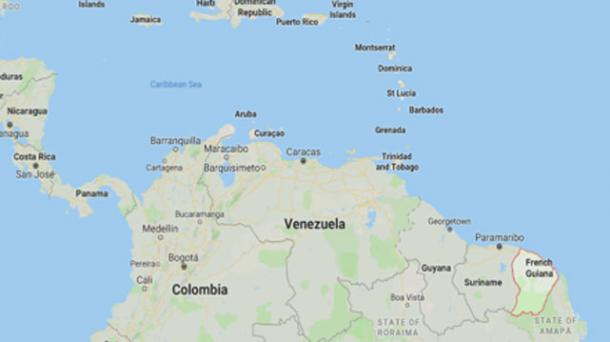Location of French Guiana (Google Maps)