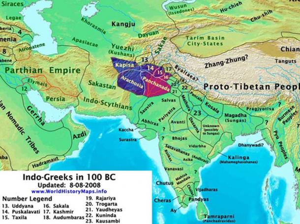 Location of Indo-Greek Kingdoms (Thomas Lessman/ CC BY-SA 3.0)