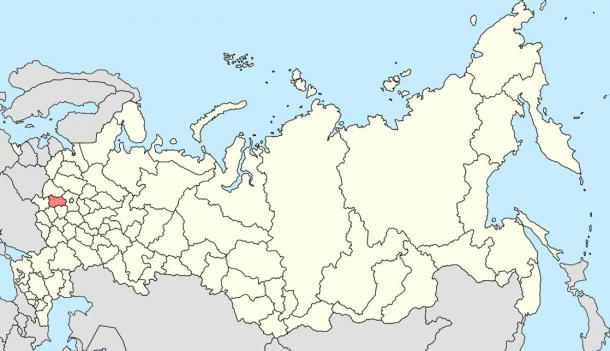 Location of Kaluga Oblast in Russia, where researchers claim to have found a 300-million-year-old screw
