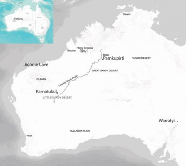 Location of Karnatukul, in the Carnarvon Ranges (Katjarra), near the Canning Stock Route. Jo McDonald, Author provided