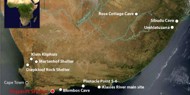 Location of Klipdrift Shelter and other South African Howiesons Poort sites. (Credits Katja Douze)