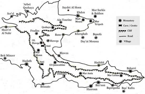 Location of Main Sites in the Kadisha Valley