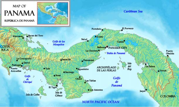 Location of the Pearl Islands (Archipiélago de las Perlas) in the Gulf of Panama