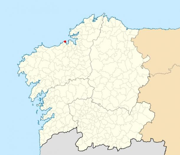 Location of the Tower of Hercules within Galicia.