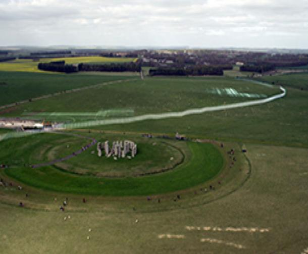Location of the ditch extending nearby and northwest of Stonehenge. View is toward the northwest. The Greater Cursus is located in front of the line of trees