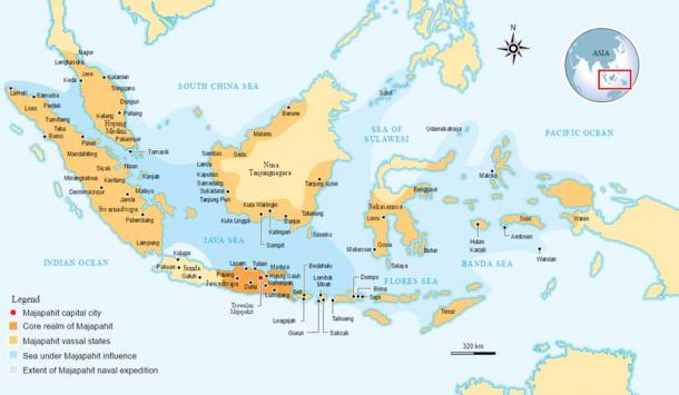 Location of the Majapahit Empire.
