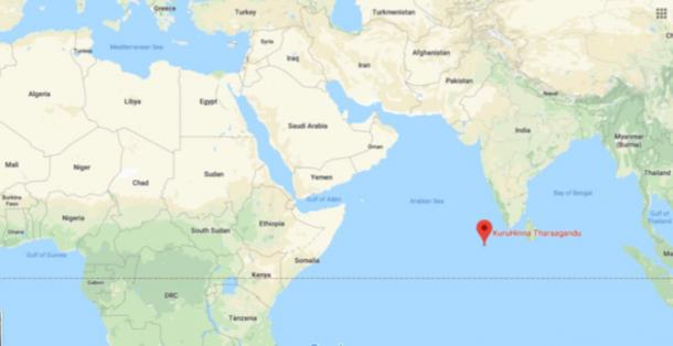 Location of Kuruhinna Tharaagandu, Maldives (Google Maps)