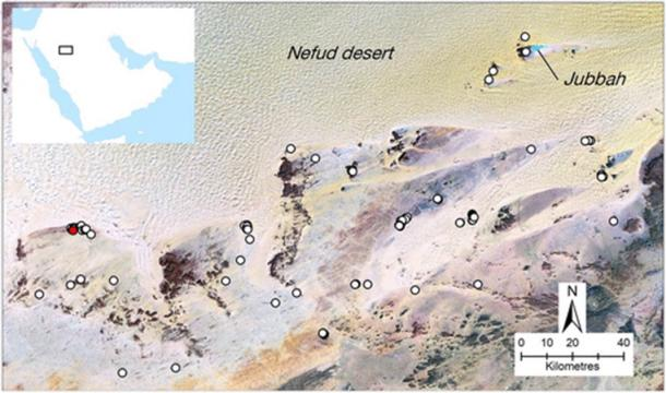 Location of the primary mustatils found in the northeast of Saudi Arabia (Groucutt et al. / The Holocene)