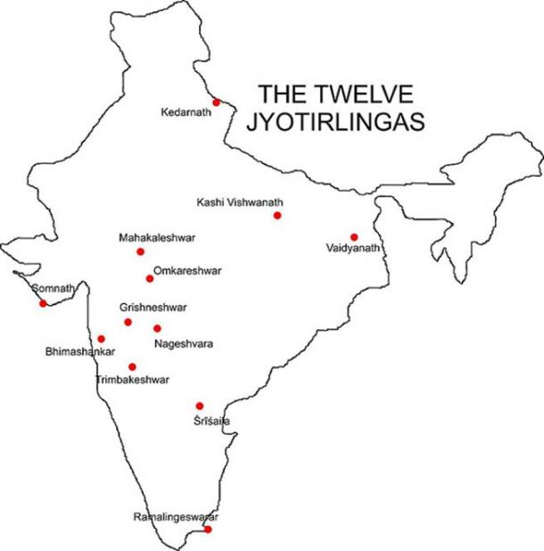 ocations of the 12 Jyothirlinga temples across India.