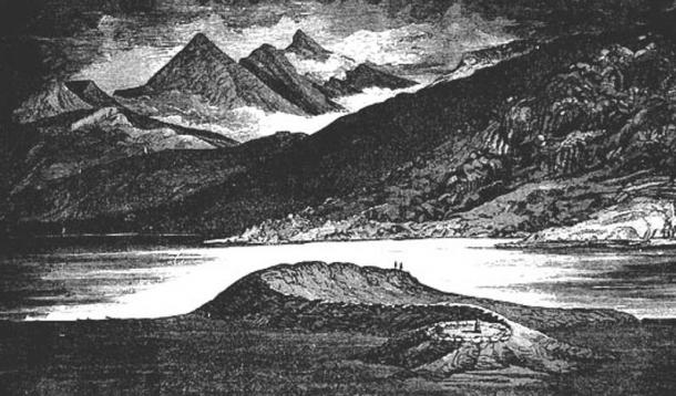 """Drawing of Scotland's Loch Nell Serpent Mound, from Constance F Gordon-Cumming's book """"In the Hebrides."""